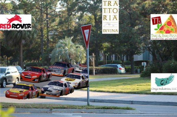 Race cars around the Sea Pines Circle