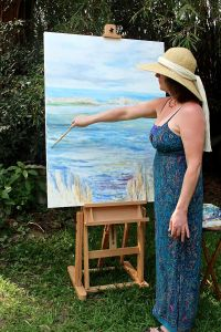 Nancy Mitchell paints outside on Hilton Head Island