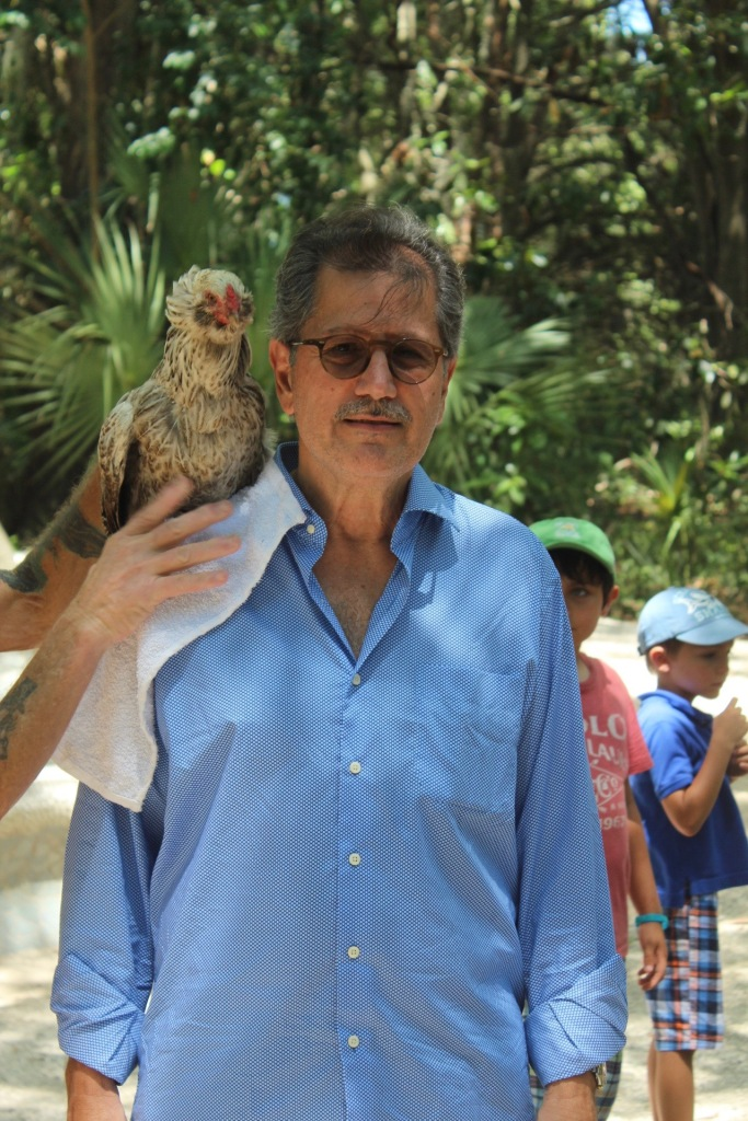 chicken on guy's shoulder
