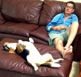Sammy and Johnny D sleep on the sofas